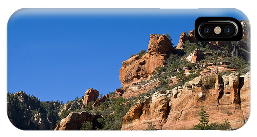 Rock IPhone X Case featuring the photograph Red Rock And Pines by Ron Telford