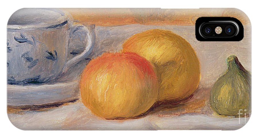 Fruit; Crockery; Patterned; China; Saucer; Tablecloth; Rustic; Figs; Oranges IPhone X Case featuring the painting Still Life With Blue Cup Nature Morte A La Tasse Bleue by Pierre Auguste Renoir