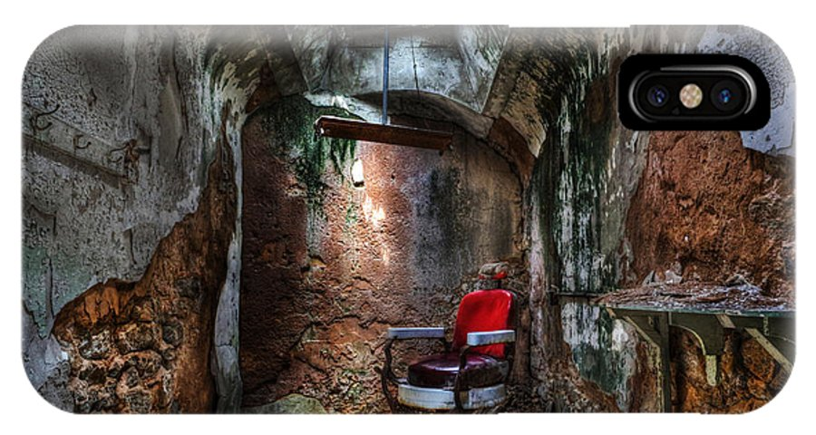 Lee Dos Santos IPhone X Case featuring the photograph Time For A Cut- Barber Chair - Eastern State Penitentiary by Lee Dos Santos
