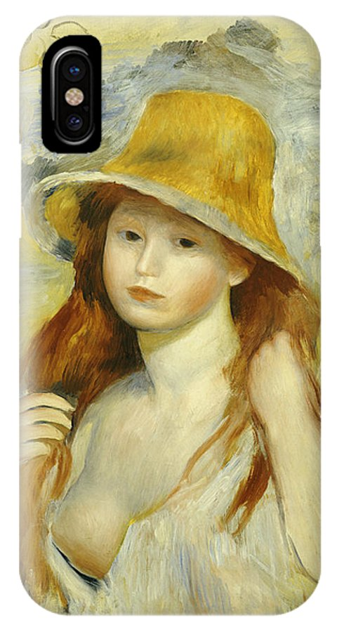Impressionist; Impressionism; Portrait; Female IPhone X Case featuring the painting Young Girl With A Straw Hat by Pierre Auguste Renoir