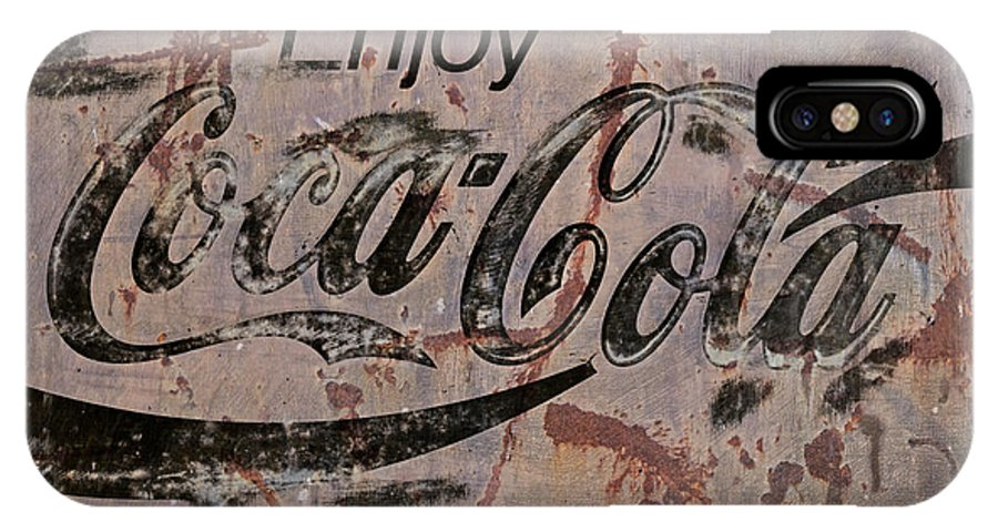 Coca Cola IPhone X Case featuring the photograph Coca Cola Sign Grungy Retro Style by John Stephens