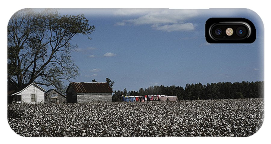 Farmers And Farming IPhone X / XS Case featuring the photograph A Cotton Field Surrounds A Small Farm by Medford Taylor