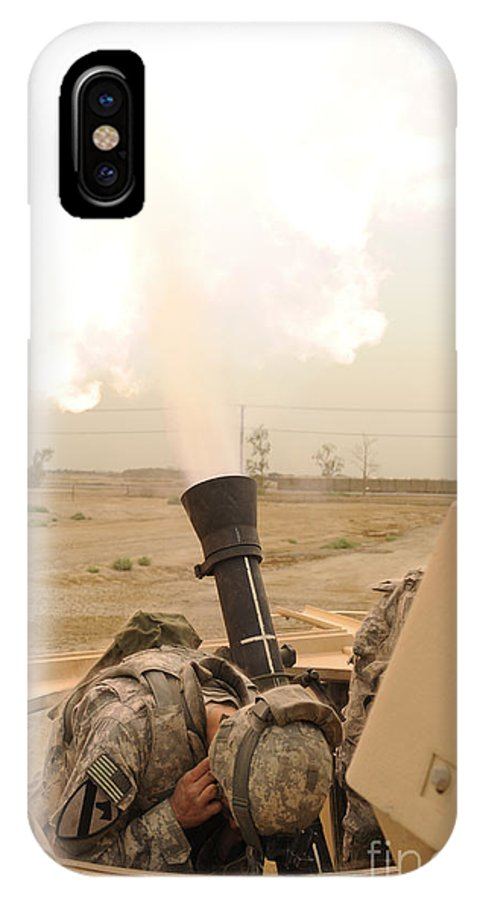 Iraq IPhone X Case featuring the photograph A M120 Mortar System Is Fired by Stocktrek Images