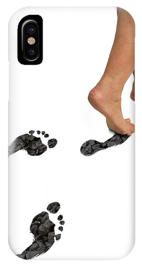 Artwork IPhone X / XS Case featuring the photograph A Woman's Feet Leaving Carbon Footprints by Victor De Schwanberg