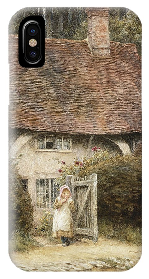 English; Landscape; C19th; C20th; Victorian; Exterior; Gateway; Female; Girl; Child; Path; Country; Lane IPhone X Case featuring the painting At The Cottage Gate by Helen Allingham