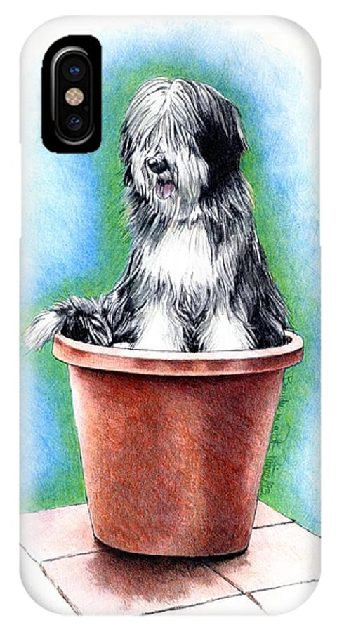 Beardie IPhone X Case featuring the painting Beardie In A Pot by Patrice Clarkson