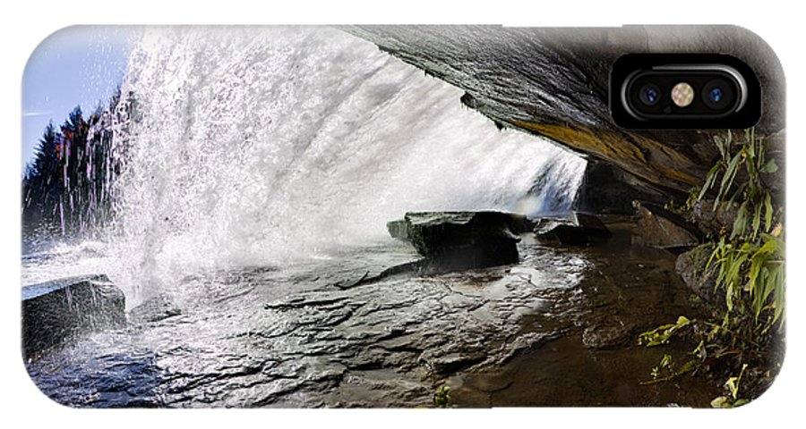 Behind Bridal Veil Falls In Dupont State Park Nc IPhone X Case featuring the photograph Behind Bridal Veil Falls In Dupont State Park Nc by Dustin K Ryan
