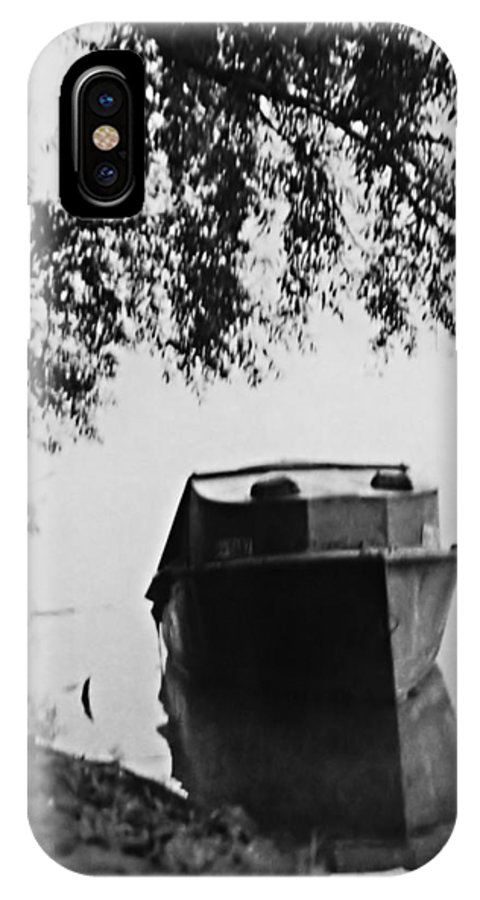 Bob Wall IPhone X / XS Case featuring the photograph Boat On Foggy Rhine by Bob Wall