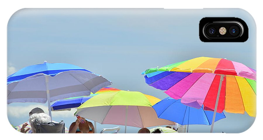 Coast Guard Baech Umbrellas IPhone X Case featuring the photograph Coast Guard Beach Umbrellas by Allen Beatty