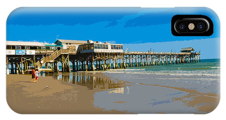 Pier IPhone X Case featuring the painting Cocoa Beach Pier Florida by Allan Hughes