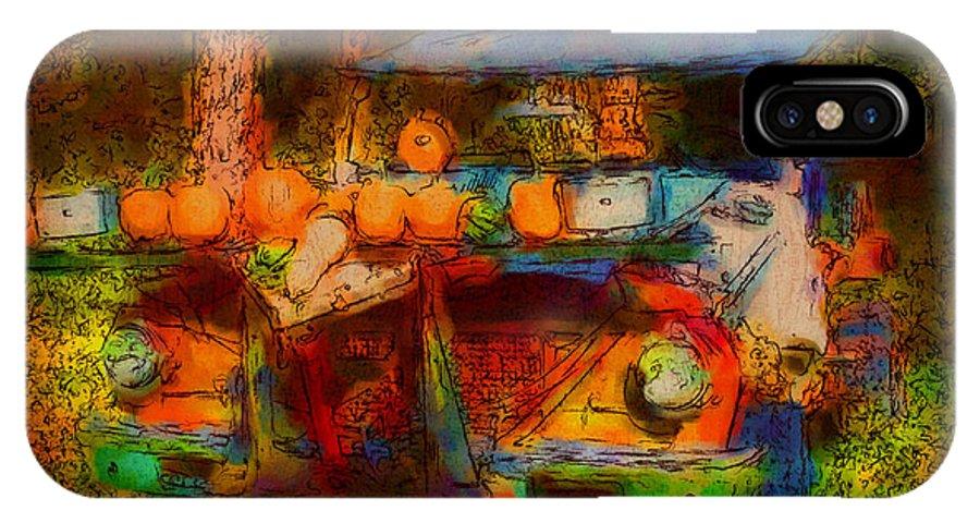 Fun IPhone X Case featuring the digital art Country Pumpkin Fun by Smilin Eyes Treasures