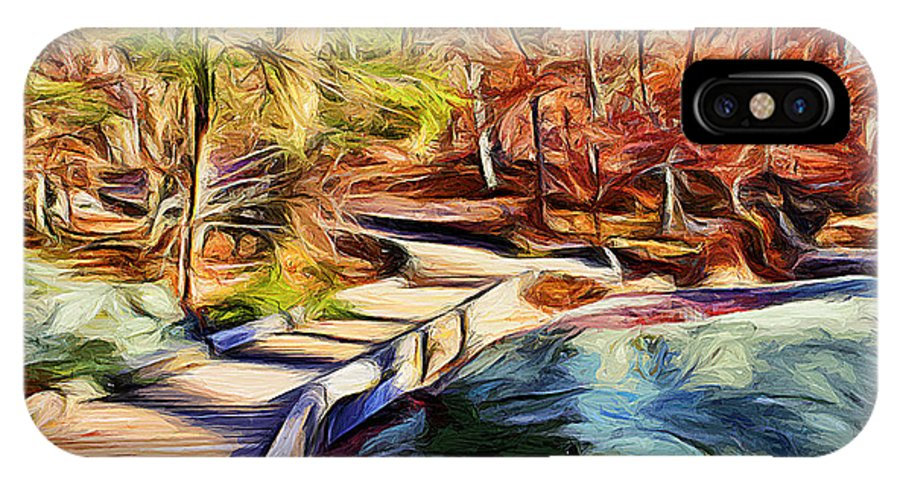 Catoctin Mountain Park IPhone X Case featuring the digital art Cunningham Falls Walkway by Stephen Younts