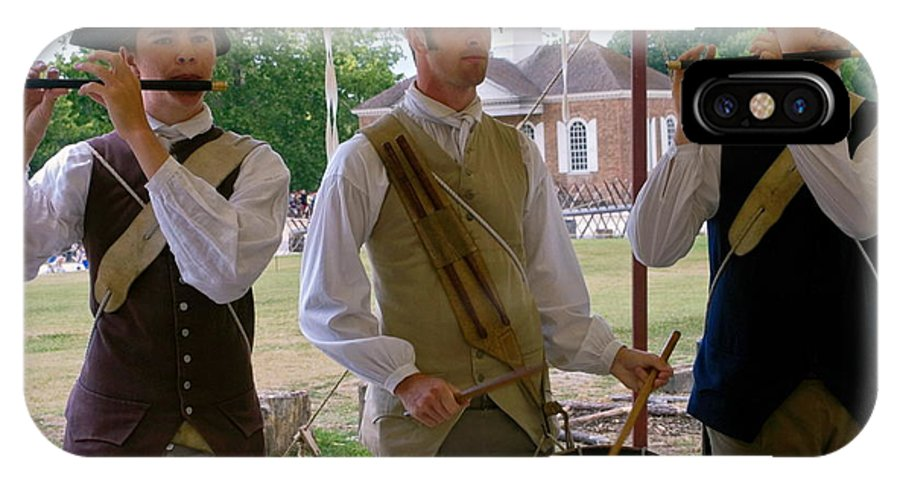 3 Young Men Playing Fifes & Drum IPhone X Case featuring the photograph Fifes And Drums by Sally Weigand