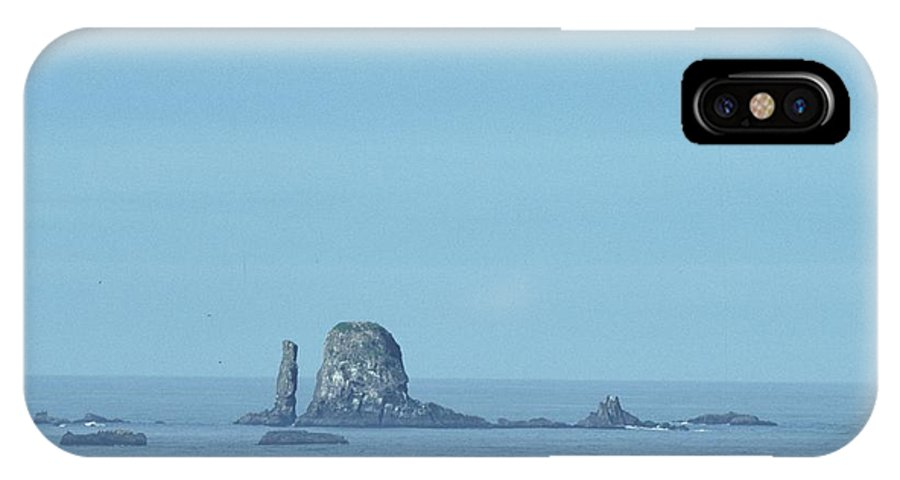 Ocean IPhone X Case featuring the photograph Fishing Boat By Sea Stacks by One Rude Dawg Orcutt