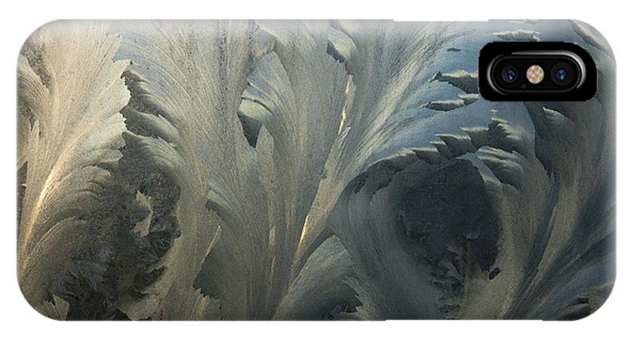 Hhh IPhone X Case featuring the photograph Frost Crystal Patterns On Glass, Ross by Colin Monteath