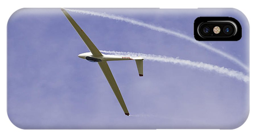 Plane IPhone X Case featuring the photograph Glider Flying Aerobatics At Airshow Canvas Photo Poster Print by Keith Webber Jr