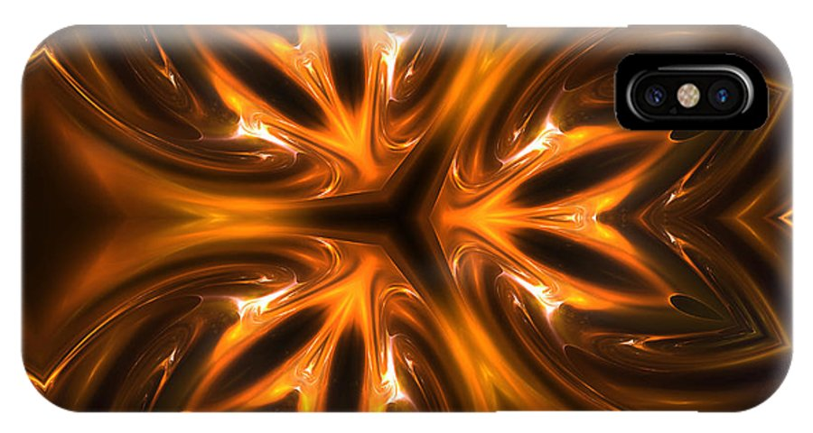 Gold Golden Metal Times Fractal Digital Art Painting Expressionism Abstract IPhone X Case featuring the digital art Golden Times by Steve K
