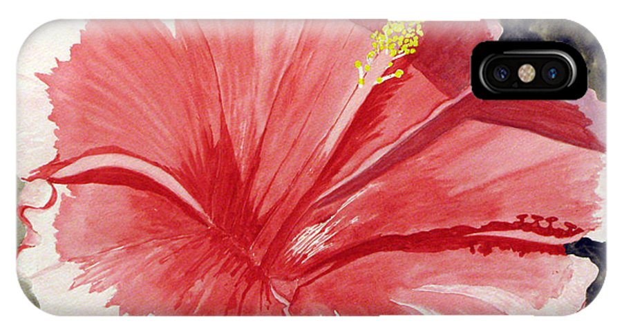 Hibiscus IPhone X Case featuring the painting Happy Hibiscus by Debi Singer