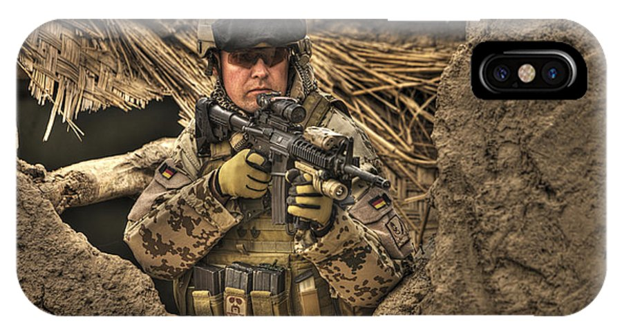 Operation Enduring Freedom IPhone X Case featuring the photograph Hdr Image Of A German Army Soldier by Terry Moore