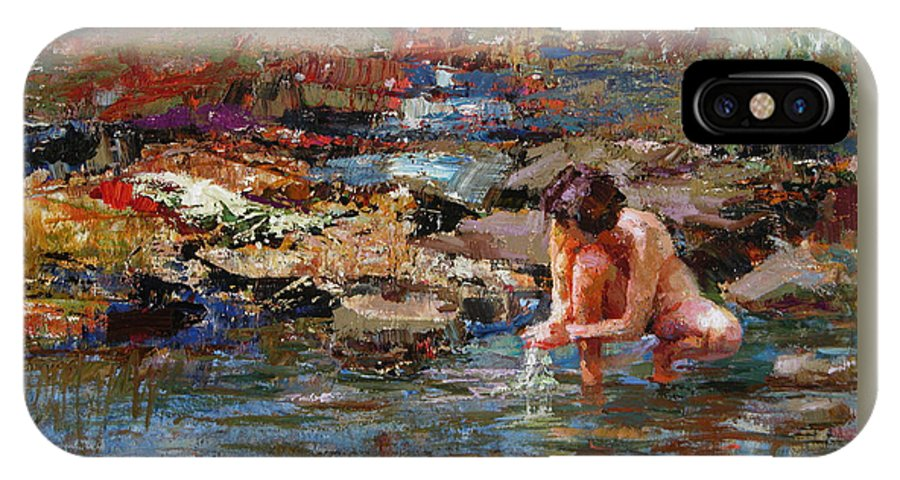 Nude IPhone X / XS Case featuring the painting Healing Water by Ron Barsano