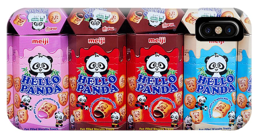 Hello IPhone X Case featuring the photograph Hello Panda Biscuits by Rick Piper Photography