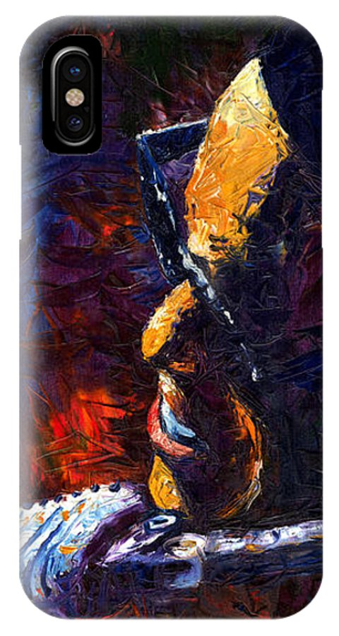 Oil.canvas IPhone X Case featuring the painting Jazz Ray by Yuriy Shevchuk