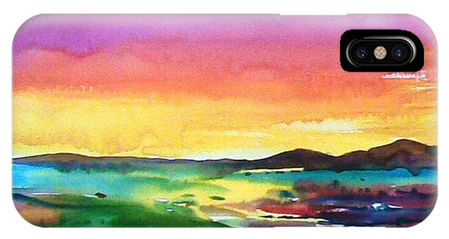 IPhone X Case featuring the painting Landscape by Sanjay Punekar