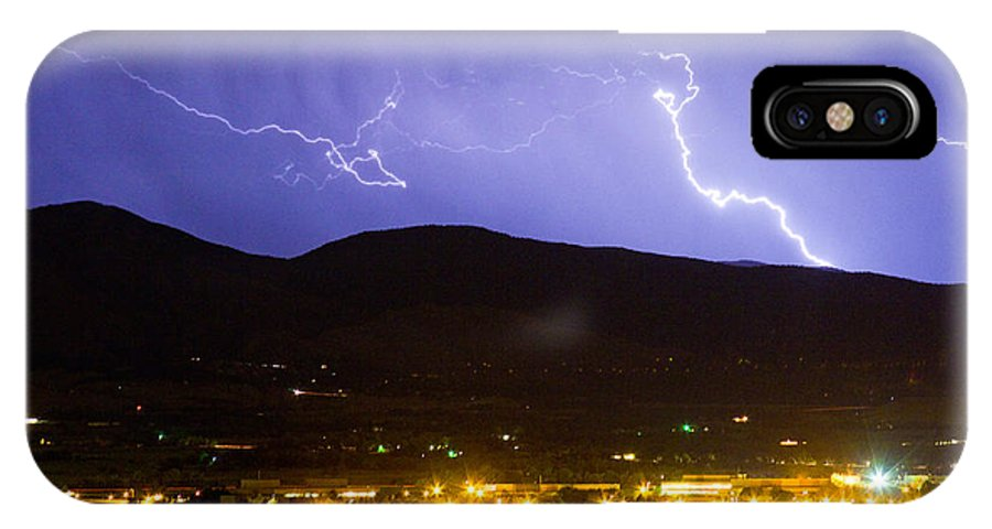 decorative Canvas Prints IPhone X Case featuring the photograph Lightning Striking Over Ibm Boulder Co 2 by James BO Insogna