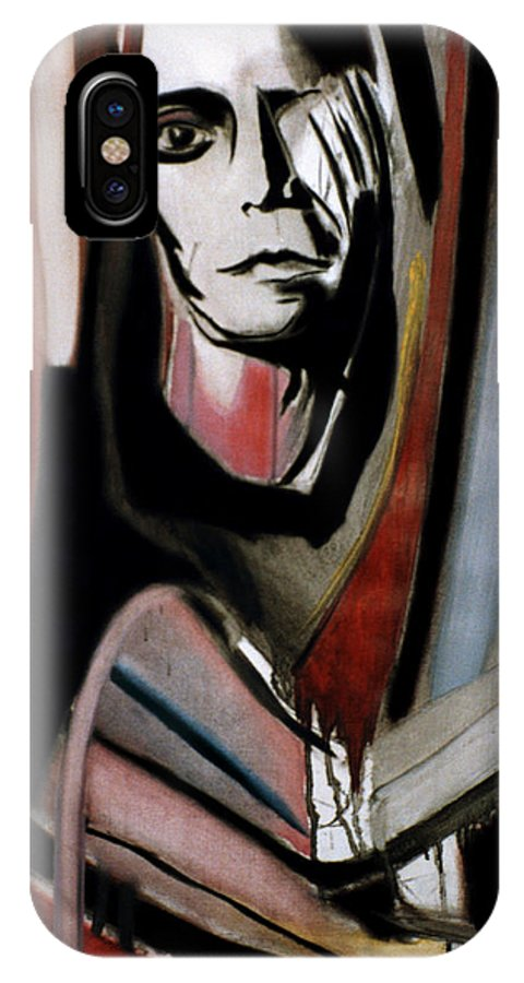 Rock IPhone X Case featuring the painting Lou Reed by Fabrice Plas