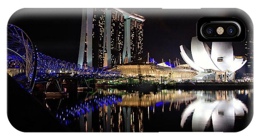 Asia IPhone X Case featuring the photograph Marina Bay Sands by Joerg Lingnau