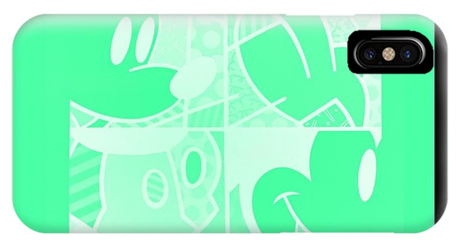 Mickey Mouse IPhone X / XS Case featuring the photograph Mickey In Negative Light Green by Rob Hans