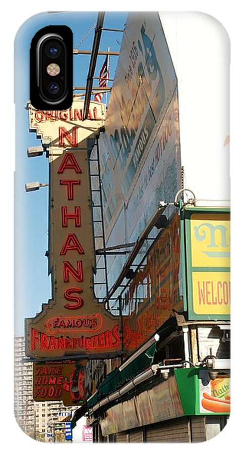 Brooklyn IPhone X Case featuring the photograph Nathan's Famous At Coney Island by Rob Hans