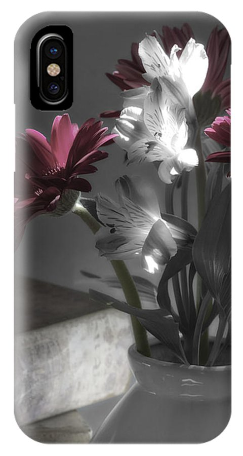 Still Life IPhone X Case featuring the photograph Pink Gerbera Floral Still Life by Linda Dunn
