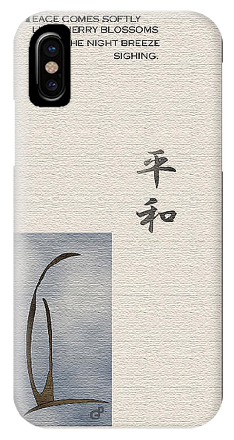 Japan IPhone X Case featuring the painting Peace by Peri Craig