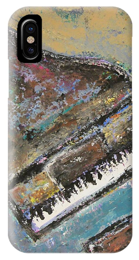 Piano IPhone X Case featuring the painting Piano Study 8 by Anita Burgermeister