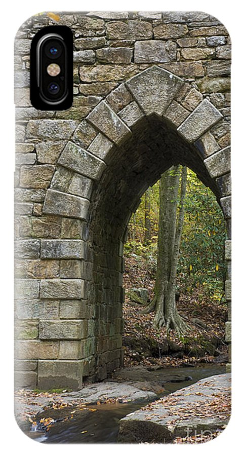 Poinsett; Bridge; Stonework; Fitted Stone; Gothic Arch; South Carolina; 1820; Historic Site; Historic; Arch; Stone; Architecture; Engineering; Gap Creek; Old; Oldest IPhone X Case featuring the photograph Poinsett Bridge With Gothic Arch Of Stone by John Arnaldi