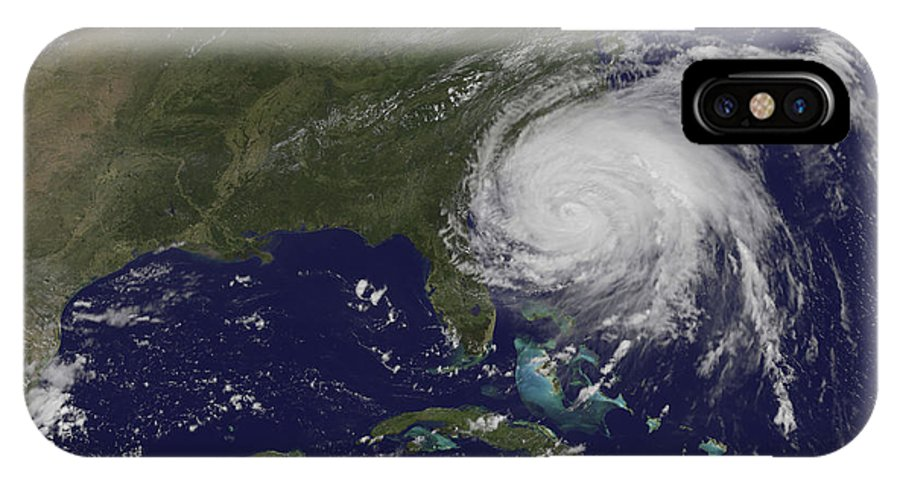East Coast IPhone X Case featuring the photograph Satellite View Of Hurricane Irene by Stocktrek Images