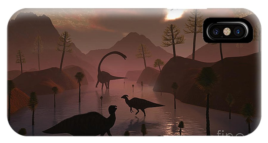 No People IPhone X Case featuring the digital art Sauropod And Duckbill Dinosaurs Feed by Mark Stevenson