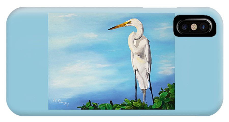 Bird IPhone X Case featuring the painting Snowy Egret by Ruben Flanagan