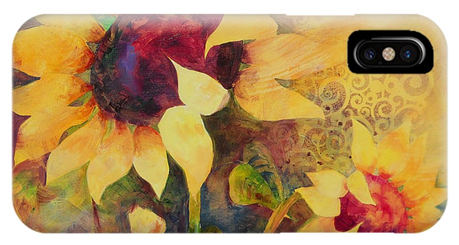 Sunflower IPhone X Case featuring the painting Sunflowers by Amy Householder