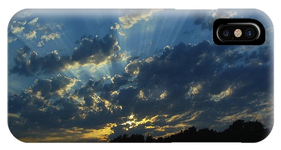 Sky IPhone X Case featuring the photograph Sunset Blues by Ramie Liddle