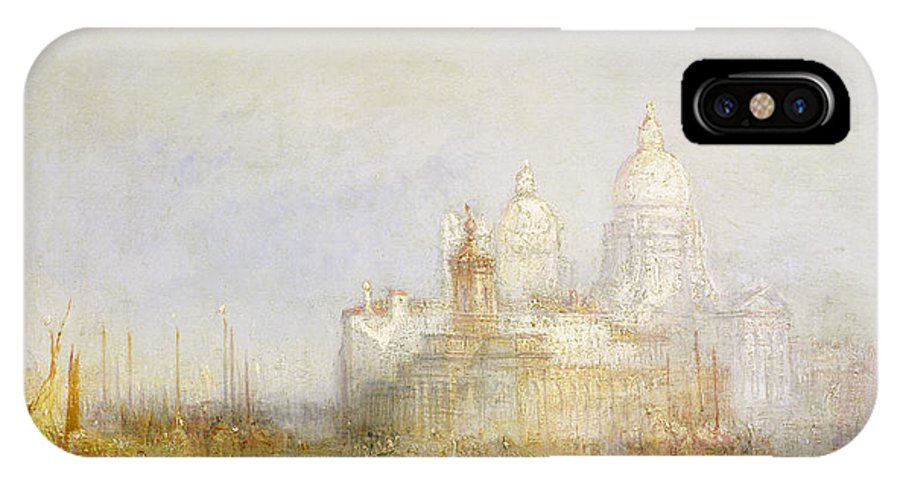 Church; Customs House; Grand Canal; Bacino Di San Marco; Lagoon; Venetian Architecture; Dome; Romantic; View; Boats; Italian; Domes; Romanticist; Boats; Venezia; Italy; Baroque Architecture; Giudecca; Romanticism IPhone X Case featuring the painting The Dogana And Santa Maria Della Salute Venice by Joseph Mallord William Turner