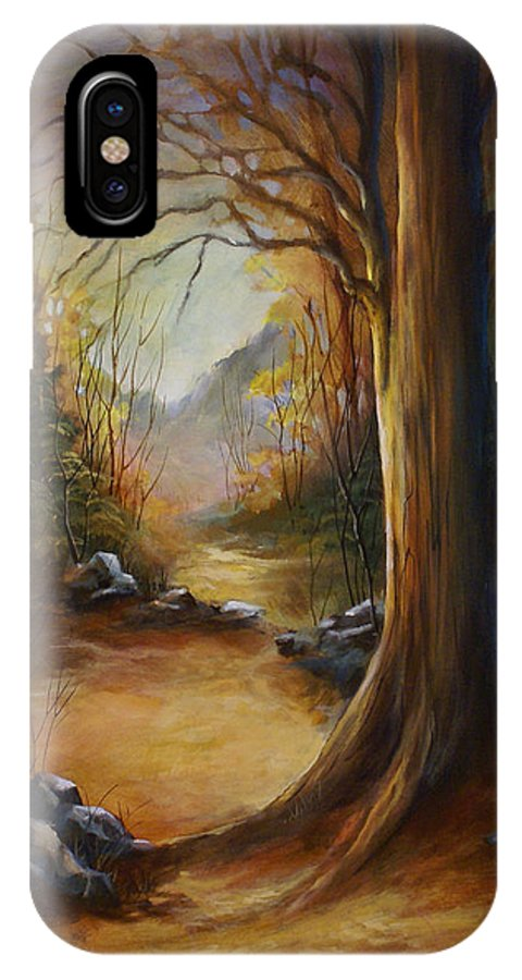 Landscape IPhone X Case featuring the painting 'The Walk' by Michael Lang