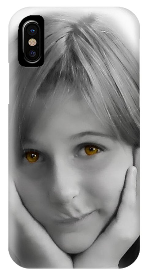Children IPhone X Case featuring the photograph This Is My Thinking Face by Debbie Portwood