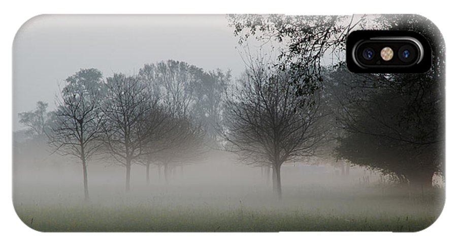 Trees IPhone X Case featuring the photograph Trees And Fog by Mats Silvan