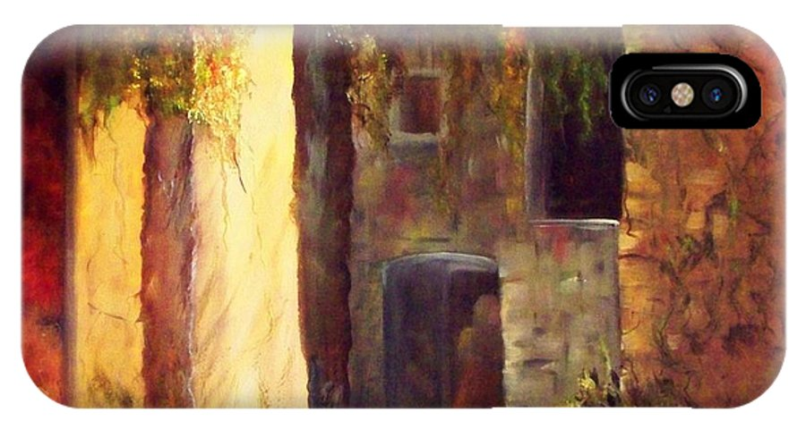 Village Rock Walls Shadows Woman In Doorway IPhone X Case featuring the painting Walled Village by Lynda McDonald