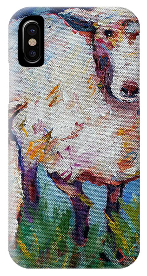 Sheep IPhone X Case featuring the painting Warm Summer Days by Naomi Gerrard