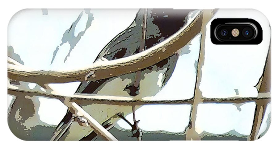 Bird On A Vine In The Winter IPhone X Case featuring the digital art Winter Bird by Artist and Photographer Laura Wrede