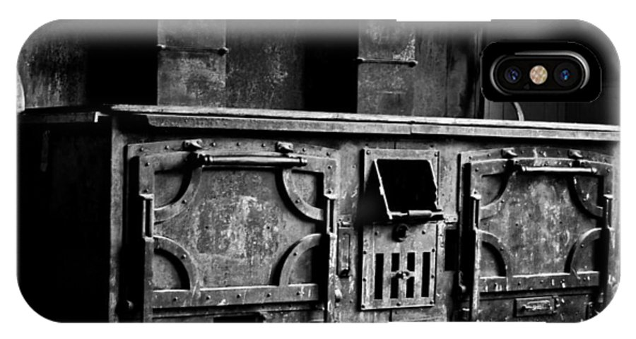 Stove IPhone X Case featuring the photograph 1800's Stove Black And White by Joseph Noonan