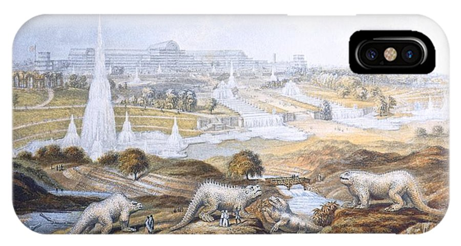 Antediluvians IPhone X / XS Case featuring the photograph 1854 Crystal Palace Dinosaurs By Baxter 2 by Paul D Stewart